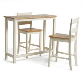 Habitat Chicago Solid Wood Bar Table & 2 Two Tone Stools