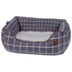 Petface Large Square Dog Bed - Grey Window Check