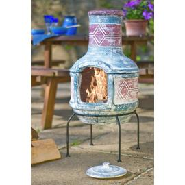 La Hacienda Geometric Clay Chiminea with Grill