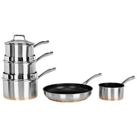 Argos Home 5 Piece Copper Based Pan Set