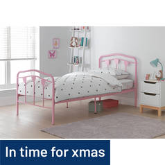 Argos Home Hearts Single Bed Frame - Pink