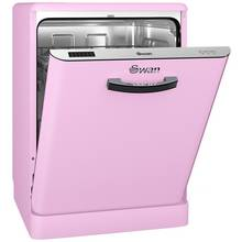 Swan SDW7040PN Retro Full Size Dishwasher - Pink Best Price, Cheapest Prices