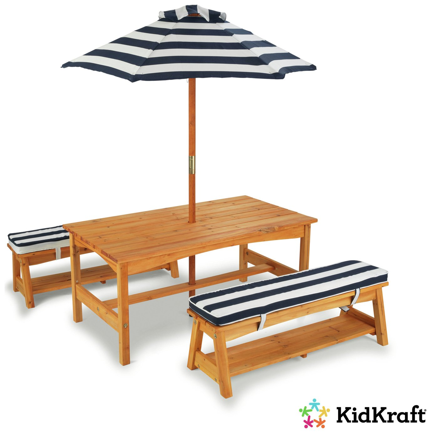 KidKraft Outdoor Table And Bench Set   Navy And White