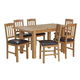 Argos Home Ashwell Oak Veneer Extending Table & 6 Chairs
