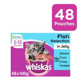 Whiskas Kitten Wet Cat Food Fish in Jelly 48 Pouches