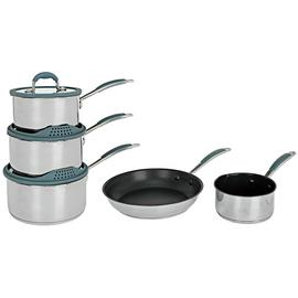 5 Piece Stainless Steel with Silicone Rim Pan Set