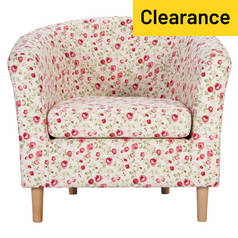 Argos Home Molly Fabric Floral Tub Chair - Red