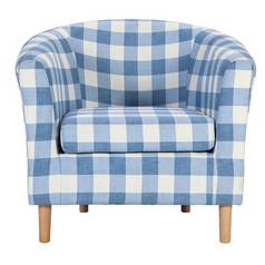 Argos Home Molly Fabric Check Tub Chair - Blue