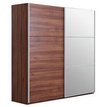 Hygena Bergen Sliding Extra Large Mirrored Wardrobe - Walnut