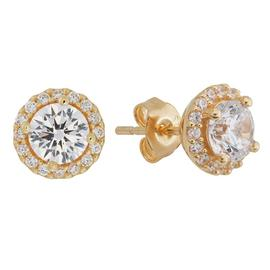Revere 18ct Gold Plated Silver CZ Halo Stud Earrings