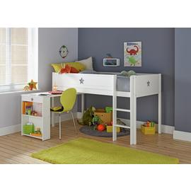 Argos Home Stars White Mid Sleeper, Desk & Kids Mattress