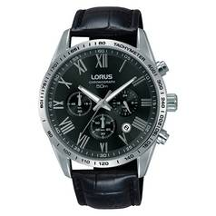 Lorus Men's RT385FX9 Black Leather Chronograph Watch