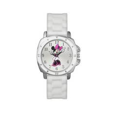 Disney Minnie Mouse White Dial and Silicone Strap Watch