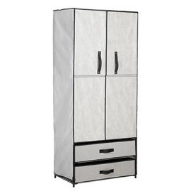 Argos Home Double Metal Framed Fabric Wardrobe - Grey