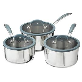 Sainsbury's Home 3 Piece Stainless Steel Pan Set
