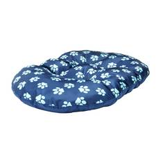 Paw Print Fleece Oval Navy Cushion - Medium