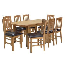 Argos Home Ashwell XL Oak Veneer Extending Table & 8 Chairs
