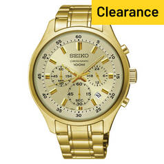Seiko Men's Gold Plated Stainless Steel Chronograph Watch