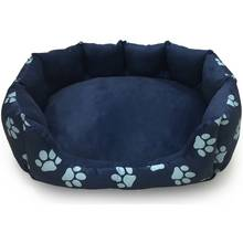 Paw Print Oval Navy Pet Bed - Small