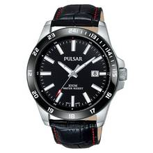 Pulsar Men's PS9463X Ion Plated Black Leather Strap Watch