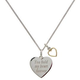 Moon & Back Silver Heart Message Pendant 18 Inch Necklace