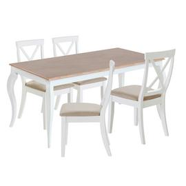 Argos Home Southwold Oak Veneer Table & 4 Two Tone Chairs