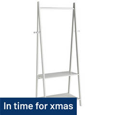 Argos Home Decorative Clothes Rail with 2 Shelves - White