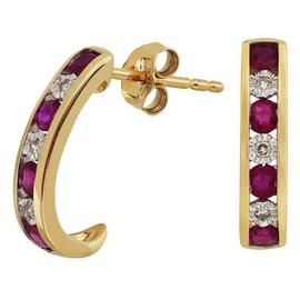 Revere 9ct Yellow Gold Ruby and Diamond Stud Earrings