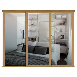 Shaker Sliding Doors and track W168 Oak Frame Mirror