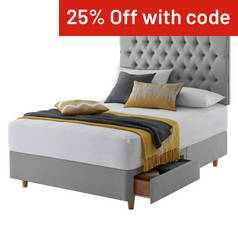 Silentnight Sassaria Grey Divan Bed - Double