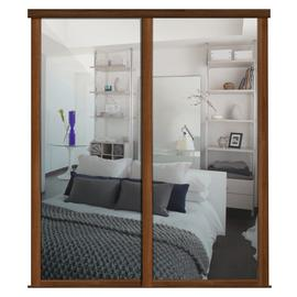Shaker Sliding Doors and track W1145 Walnut Frame Mirror