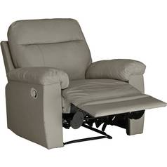 Argos Home Paolo Leather Mix Manual Recliner Chair - Grey