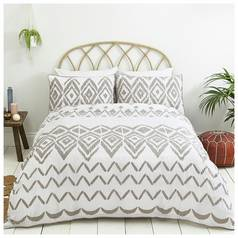Sainsbury's Home Boho Grey Seersucker Bedding Set - S.King