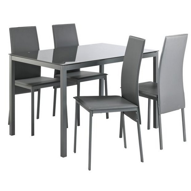 Buy Argos Home Lido Glass Dining Table 4 Grey Chairs Dining Table And Chair Sets Argos