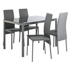 3b306ffbce4 Argos Home Lido Glass Table   4 Chairs - Grey