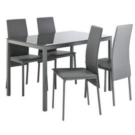 Argos Home Lido Glass Dining Table & 4 Grey Chairs