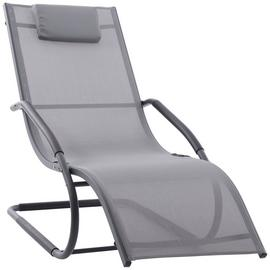 Vivere Wave Metal Sun Lounger - Grey on Matte Black