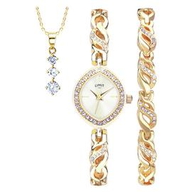 Limit Ladies' Gold Coloured Watch, Pendant and Bracelet Set