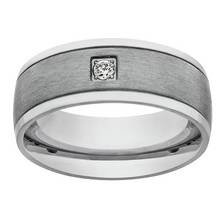 Revere Men's Stainless Steel Matt and Polished CZ Ring