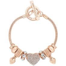 Lipsy Gold Colour Crystal Pave Heart Charm T-Bar Bracelet