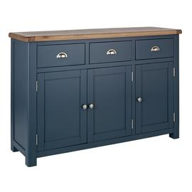 Argos Home Kent 3 Door Large Oak Veneer Sideboard - Blue