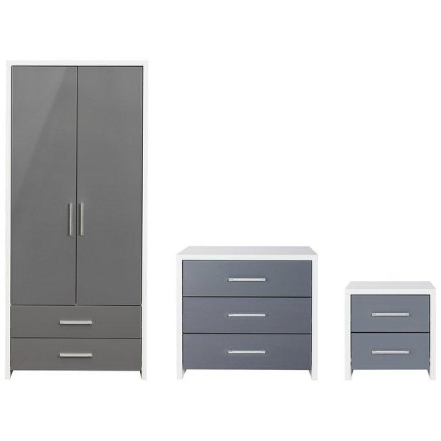 Buy Habitat Broadway Gloss 3 Piece Wardrobe Set Grey White Bedroom Furniture Sets Argos