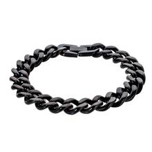 Revere Men's Stainless Steel Black Curb Bracelet