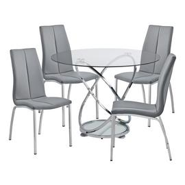 Argos Home Atom Glass Dining Table & 4 Grey Milo Chairs