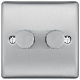 BG 2 Gang 2 Way Dimmer Switch - Stainless Steel