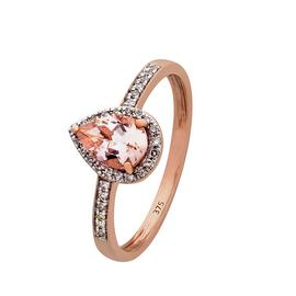 Revere 9ct Rose Gold Morganite & 0.10ct tw Diamond Pear Ring