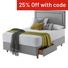 Silentnight Toulouse Grey Divan Bed - Double