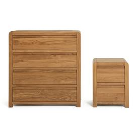 Argos Home Novara Bedside & 4 Drawer Set - Oak & Oak Veneer
