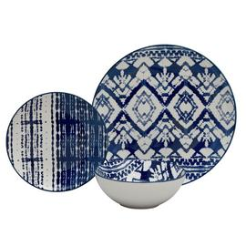Argos Home Shibori Ceramic 12 Piece Dinner Set - Blue
