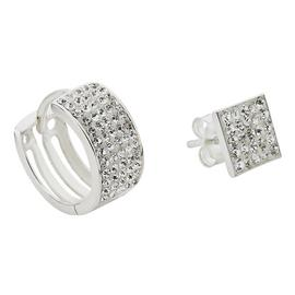 Revere Men's Silver Crystal Set of 2 Huggie Earrings